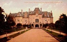 Ochre Court, Newport, RI. Residence of Mrs. Ogden Golet. Owned by Salve Regina University. In 1946 Robert Goelet offered his hundred room Ochre Court to his daughter at Vassar; the latter turned it down with the statement that even the thought of living there oppressed her. Finally in 1947 Goelet gave up & delivered the cottage to the Roman Catholic Church for a girl's college.