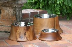 Wooden food and water bowls. | 36 Pieces Of Mod Pet Furniture Nicer Than Your Actual Furniture
