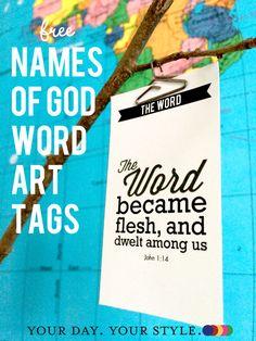 Names of God Printables for Easter or Christmas. ©2014 Resa Design, LLC