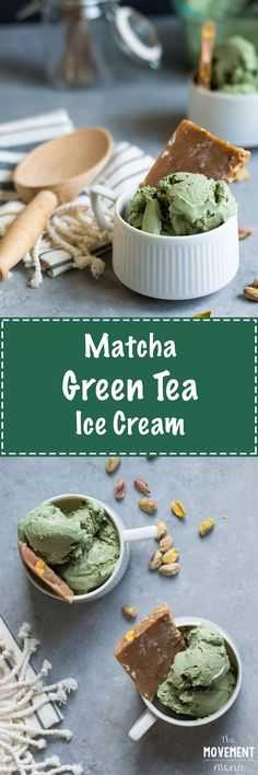 """This Matcha Green Tea Ice Cream tastes even better than the """"real"""" stuff from the Japanese restaurants! Pair it with the pistachio praline and you'll be floating on cloud 9. TheMovementMenu.com"""