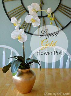 Dress up a plain flower pot with liquid gold leaf.