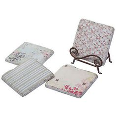 Shabby Chic Floral Ceramic Table Protector Drinks Coaster Set & Vintage Stand