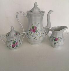Walbrzych Bone China Poland Tea Set Tea Pot, Creamer, Sugar Bowl Lot Floral
