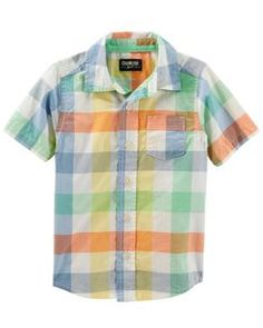 86103af2e8969 Plaid Button-Front Shirt Oshkosh Baby, Oshkosh Bgosh, Baby Checklist, Boy  Clothing