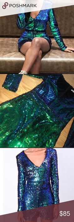 MERMAID SEQUIN V NECK ROMPER *NWT* - ❤️❤️❤️ MEDIUM MERMAID SEQUIN ROMPER *NWT* - ❤️❤️❤️ THIS V NECK romper is gorgeous in a blue-ish green color . Long sleeved and a zipper closure at back. Fully sequined . Fully Lined . Hand wash cold / Hang dry - Imported .  Model is wearing a XS . This listing is for a size MEDIUM 👉🏼👉🏼TIP 📍📍📍📍📍True to Size in my opinion . I am a Size Small/4 and the small fits me perfectly with full bottom coverage as well . Please reference the size chart Urban…