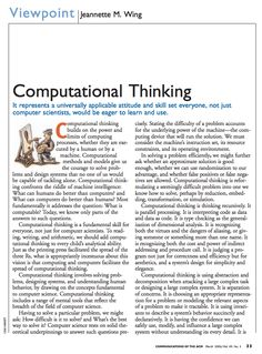 Jeanette Wing discussing why computational thinking is a universally applicable skill set.