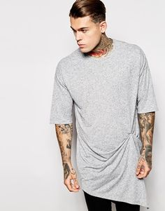 ASOS Super Longline T-Shirt With Popper And Drape Detail