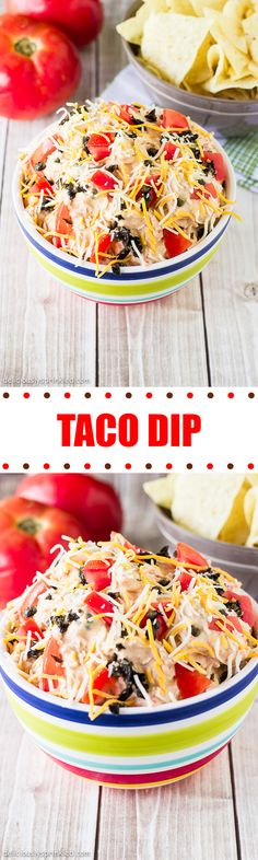A recipe for Taco Dip. Homemade Taco Dip recipe made with cream cheese, shredded cheese, tomatoes, black olives, and salsa! Best Taco Dip Recipe, Dip Recipes, Mexican Food Recipes, Cooking Recipes, Yummy Recipes, Finger Food Appetizers, Yummy Appetizers, Appetizer Recipes, Pesto