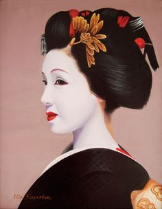 amazing geisha oil paintings and watercolor | Geisha Oil 1