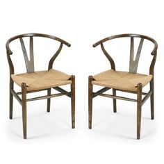 Joveco Vintage Antique Wishbone Stylish Paper Rope Seat Dining / Side Chair - Set of 2