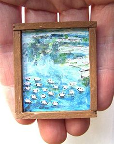 OOAK 1/12 Escala casa de muñecas Miniatura Pintura - Claude Monet - Nenúfares