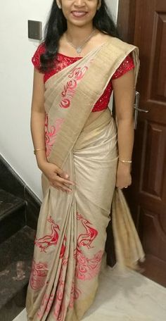 Tussar silk saree with peacock embroidery and designer blouse Kerala Saree Blouse Designs, Saree Blouse Neck Designs, Fancy Blouse Designs, Boat Neck Saree Blouse, Designer Saree Blouses, Designer Blouse Patterns, Stylish Sarees, Saree Models, Elegant Saree