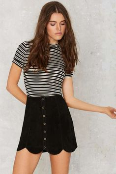 Black veggie suede leather skirt with scalloped hemline, buttons up the front, and matching horizontally striped shirt.. DIY the look yourself: http://mjtrends.com/pins.php?name=black-veggie-suede-leather-fabric_1