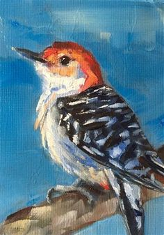 "Daily Paintworks - ""Red-bellied Woodpecker"" - Original Fine Art for Sale - © Gary Bruton"