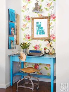 This bright home office sits right off the kitchen in a little nook.