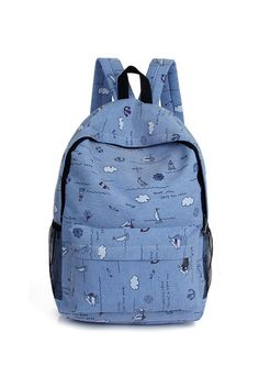 Denim Blue Printed Backpack. Free 3-7 days expedited shipping to U.S. Free first class word wide shipping. Customer service: help@moooh.net