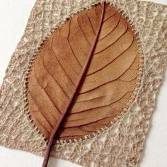 Acorn Crafts, Leaf Crafts, Crochet Leaves, Crochet Flowers, Plant Crafts, Embroidery Leaf, Nature Artists, Textiles, Funky Junk