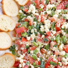 Feta Dip...I'd serve with toasted baguette slices drizzled w/ olive oil!! Yummy!!