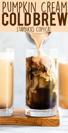 The new Starbucks Pumpkin Cream Cold Brew is better than the Pumpkin Spice Latte, and you can make it at home! You wont believe how easy this DIY Pumpkin Cream Cold Brew Recipe is to make. It only takes 6 ingredients and 5 minutes! Yogurt, Diy Pumpkin, Easy Pumpkin Desserts, Healthy Pumpkin Recipes, Pumpkin Drinks, Coffee Love, Coffee Coffee, Diy Cold Brew Coffee, Cold Coffee Drinks