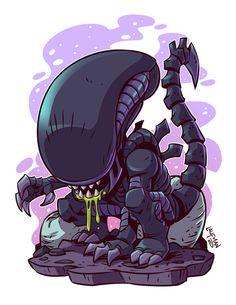 Idk what you say! It's chibi so it's cute! Cartoon Kunst, Comic Kunst, Cartoon Art, Xenomorph, Comic Art, Chibi Marvel, Predator Alien, Alien Alien, Horror Art
