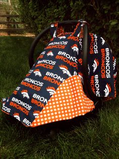 Car Seat Canopy Denver Broncos by Officialbabybusiness on Etsy, $30.00