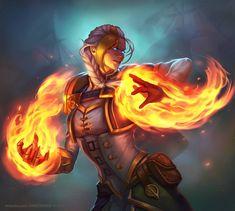 Jaina Proudmoore - Fire spec by RamzyKamen on DeviantArt Fire Warrior, Fantasy Warrior, Fantasy Girl, Dnd Characters, Fantasy Characters, Female Characters, Warcraft Art, World Of Warcraft, Character Inspiration
