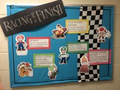 Racing to the Finish Bulletin Board (midterms/finals Mario theme)