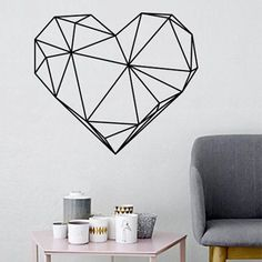 Items similar to Geometric Heart Wall Decal Decor Bedroom, Heart Vinyl Wall Sticker Wall Art for Bedroom, Australian Made on Etsy Modern Wall Decals, Wallpaper Stencil, Diy Wall Painting, Tape Art, Heart Wall, Trendy Home, Living Room Art, Wall Design, Decoration
