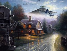 Quick! Turn out the lights and pretend no one is home!   Star Wars Characters Invade Thomas Kinkade Paintings - My Modern Metropolis