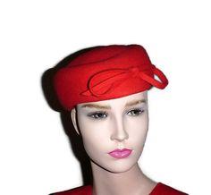 50s Tomato Red Designer Pillbox Hat M'sieu by PopcornVintageByTann