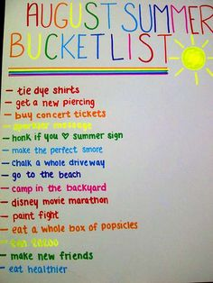 summer list... This list is perfect!