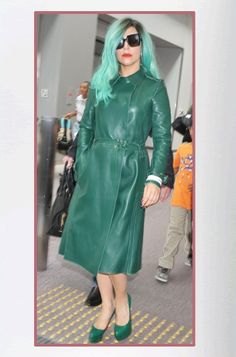 Lady Gaga's Green Leather Trench Coat    #Scrubs #Nurses #Nursing #StudentNurse #SmittenScrubs @SmittenScrubs #healthcare #uniforms #NursingUniforms #StPatricksDay