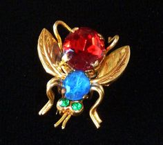 Vintage Czech Fly Insect Pin Ruby Red Blue Green Rhinestones