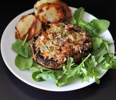 Vegan Richa: Portabella stuffed with Hash browns.