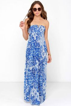 Lovely Blue Floral Print Dress - Maxi Dress - Strapless Dress - $49.00