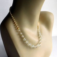 Vintage Crystal / Glass Pearl Beaded Necklace w/ Sterling
