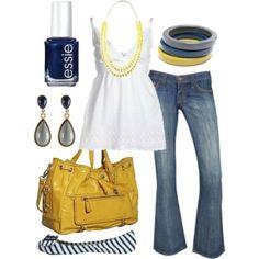 Colors: I especially like the nail polish color and bracelets. navy//gray//yellow