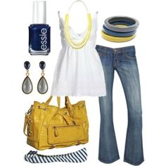 Colors: I especially like the nail polish color and bracelets. navy//gray//yellow