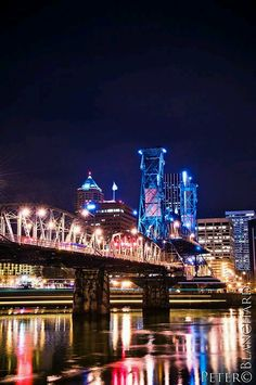 Downtown Portland, Oregon at night Portland Bridges, Downtown Portland Oregon, Seattle, Great Places, Places Ive Been, Beautiful Places, Places To Visit, Beautiful Sites, State Of Oregon
