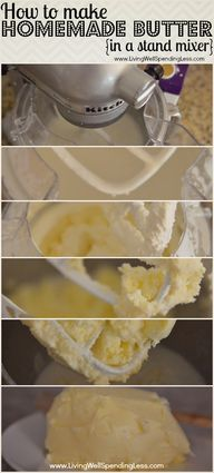 How to make homemade butter in a stand mixer. - http://craftideas.bitchinrants.com/how-to-make-homemade-butter-in-a-stand-mixer/