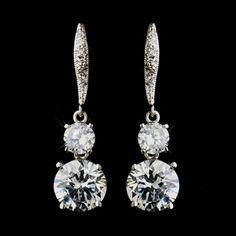 Silver Clear CZ Crystal Bridal Dangle Bridal Earrings 8679