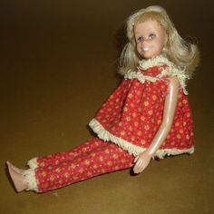 1965 Mattel Skooter Doll - Barbie Family - Wears Tagged Wooly Pajamas - Blonde, Brown Eyes by DolllightedToMeetYou on Etsy #dolllighted #gotvintage #unitedsellers