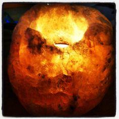 Salt rock candle holder