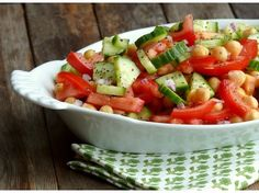 Cucumber, Tomato and Chickpea Salad from NoblePig.com