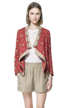 Image 2 of JACQUARD PATTERN CROSSOVER BLAZER from Zara