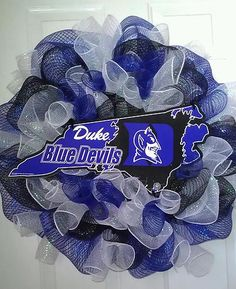 I want this big giant tacky southern duke blue devils wreath!!!