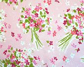 wedding bouquet in pink, a vintage sheet fat quarter