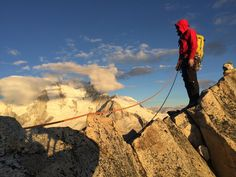 Peak Mountain Guide's Marc Ripperger during a successful climb of La Esfinge, in the heart of the Cordillera Blanca in Peru. In this photo Marc is wearing the ROM Jacket and Scree Pants.   Photo: Sondra Ripperger / Courtesy Matt Wade, Peak Mountain Guides