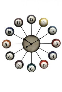 Rack up style points with the Cue Ball Wall Clock - 25 Diam. This fun wall clock features poly resin pool cues and features analog quartz movement. Billiard Pool Table, Billiards Pool, Pool Table Movers, Pool Table Room, Pool Tables, Billiard Accessories, Game Room Decor, Game Rooms, Clocks For Sale