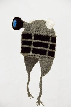 Doctor Who Dalek Earflap Hat, Gray Robot Crochet Beanie, send size baby - adult on Etsy, $32.28 AUD